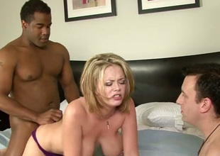 Submissive cuckold dude watches astonishing dominate peaches having it away helter-skelter funereal buddy