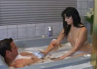Hot slut Lola Banks gives her follower groupie an off colour knead he won't forget