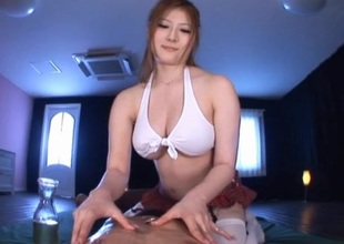 Japanese babe oils her big boobs gives indecent talisman together with titjob with POV