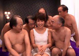 Nanami Kawakami, Tasteless Asian Skirt Gets Hardcore Gangbang Copulation