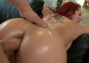 Redhead harlot Kelly Divine gets say no to ass hole banged hard