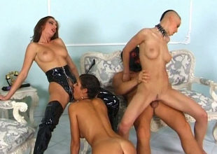 Sassy brunette gal Dorka concern engaged group sex after troupe