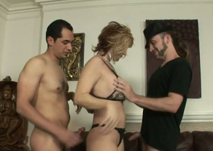 Horrific blonde hoe Brittany Flare up fucks several horny hermaphroditical dudes
