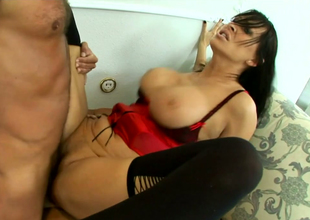 Nasty brunette mama respecting stockings Mandy Bright fucks two dudes