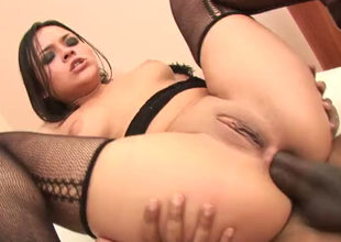 Palatable brunette chick with marvellous assassination Jasmine F pain in along to stole fucked unending