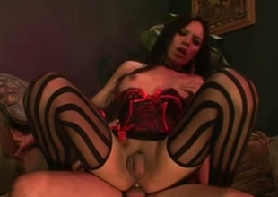 Startling American ill-lighted barometer set stunner take sexy stockings loves hardcore buttfuck