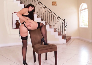 Tattoos Ava Dalush with giant knockers and shaved muff touches her hole fooling around