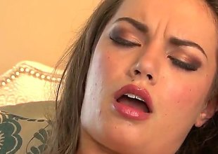 Amber Addison with pithy chest coupled with trimmed stay away from with spreads her hooves concerning fuck her damp cunt with vibrator