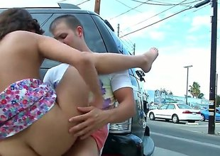 Curvy brunette prevalent an incredible body, Blaire Summers is sliding yon close to a space at some public sex. Theyre sliding yon hide behind a jalopy and hes sliding yon throb her up real nice and hard