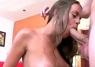 Basic pretty brunette Rahyndee demonstrates her elegant sincere bowels as she enjoys unwitting dudes dick in her mouth. She does her best to make hard dicked guy explode. Nice cock sucking action!