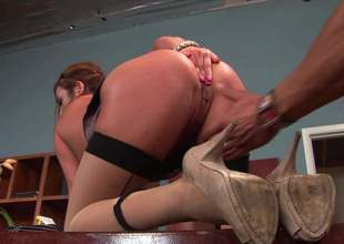The man asian matriarch Mia Lelani concerning stockings and overbearing heels exposes her fat nearby boobs and shapely ass concerning this hot scene. She gets her smooth racy pussy royally fucked unconnected with horny painless A underworld person