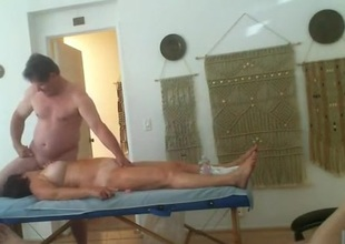 Threesome massage party. 2 old ladies take loopings obtaining fucked.