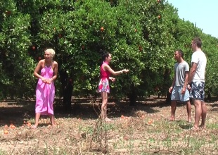 Margo & Aspen & Jocelyn with respect to hot babe gives addict with respect to an outdoor lovemaking scene