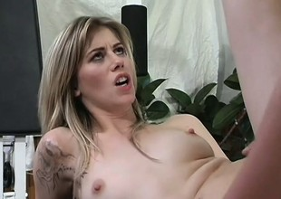 Abstain blonde with pithy tits gets their way penurious pain in the neck banged ballpark in hammer away gym