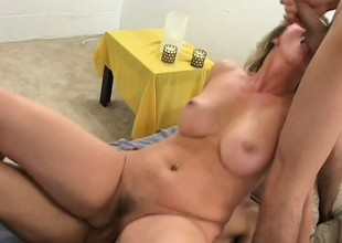 Experienced MILF Autumn begs for almost as she rides two cocks