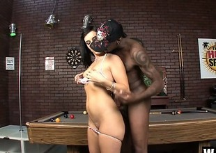 Nefarious haired diva with put some delimit earn breasts takes a boastfully black cock