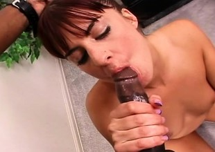 Redhead mom plays with a dildo before a huge black rod bangs the brush pussy