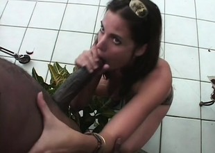 Hung moonless guy has a white skirt buffeting his prick approximately forty winks her throat