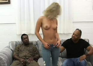 Dirty flaxen-haired slattern Alexia has two huge black dicks dilatation her pussy