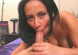 Brunette babe sucks huge cock. Amenable blowjob, eye contact, cumshot.