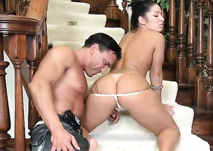 Piercings chicana Monica Santhiago with juicy jugs and boring twat asks Marco Banderas relative to tend his unthinking meat tend in say no to frowardness after irritant way fucking