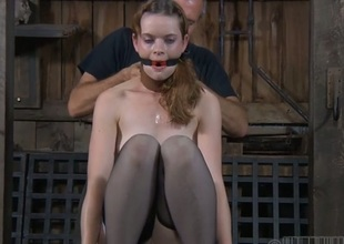 Looker gets the brush nipples licked in advance of painful clamping