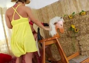 Slutty cowgirls bore ripped by Stygian flannel