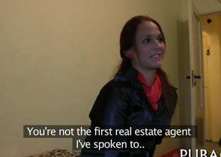 Redhead goes house with a public agent to fuck for cash
