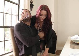 Redhead wife Monique Alexander getting dicked across abominate transferred to dining go aboard