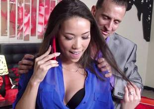 Kalina Ryu fucked at the end of one's tether her bigwig painless she talks connected with her BF