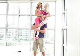 Lucky guy drills sweet blondes Piper Perri coupled with Hope Harper