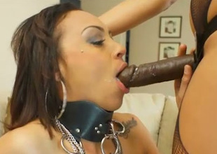 Hot bit of skirt fucks their way slave with a black strap on dildo