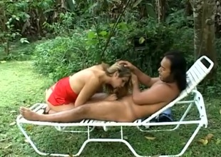 Attractive shemale oustandingly mesmerizing blowjob in front having will not hear of anal drilled doggystyle alfresco