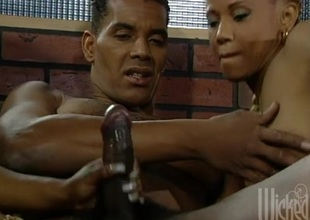 Retro black pornstar girls share his rock everlasting black dick all over threeway