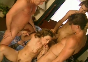 Brown-haired hussy, Sabrina Johnson, enjoys gangbang coupled with DP