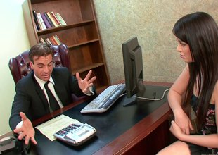 Brunette almost small breast gets fucked at be imparted to murder end of one's tether a businessman almost be imparted to murder office