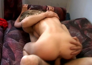 This nutriment blonde with well-developed bosom loves doggy style & cowgirl