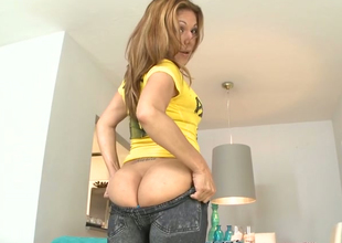 Lustful redhead cash-drawer Expensive  masturbates with a dildo