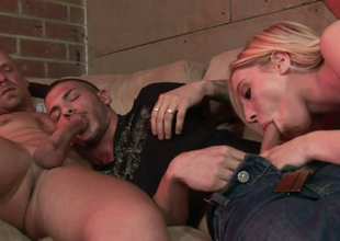 Peaches cash-drawer Jules Sterling gives head on touching BS dudes Chad Rock and Tristan Mathews