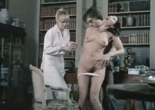 Brunette and fair-haired retro sluts share a Hawkshaw of their friend