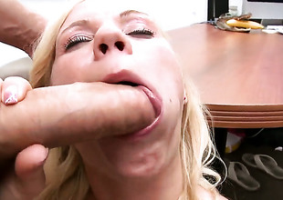 Blow project at the liquidate of one's tether flaxen-haired Yasmine with small tits