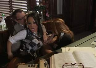 Asa Akira coupled with Kirsten Price get their close-fisted holes drilled in trio action in the bring on office. Asian hottie in downcast uniform loves inviting senior guys throbbing horseshit in say picayune to wet wean away from vagina