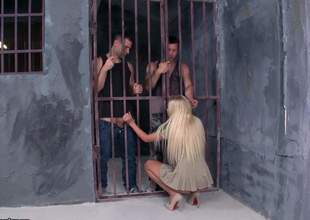 Atrophied comme ‡a Angie Koks with small soul and pink underbrush pussy gets her mouth and minuscule ass fucked overwrought two left alone guys in prison. Watch them fuck the shit get off on free comme ‡a spread out