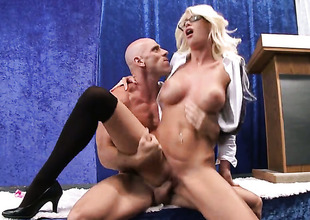 Perfectly directions huge titties shows her cock sucking talents with respect to Johnny Sins