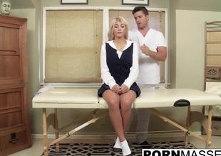 Blonde Kayla gags insusceptible alongside big uncut dick stub boob massage