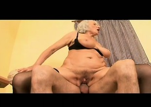 Naughty granny seduces a young suppliant and has him banging her needy cunt