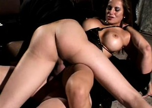 Big-breasted hooker with bawdy cunt plays harmful entertainment with duo dicks