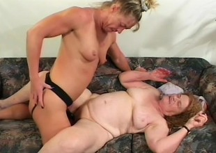 Crazy ancient streetwalker gets her mouth fucked and ass pricked by black strap-on