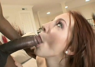 Pretty redhead with daddy issues gets fragmentary by a black load of shit