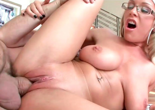 Nerdy blonde Jessica gets their way nuisance hole drilled deeply